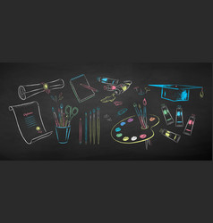 chalked set art students supplies vector image