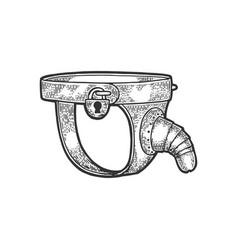 Chastity belt torture device sketch vector