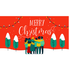 christmas diverse friend group hug greeting card vector image