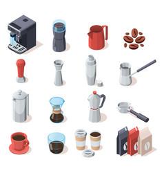 Coffee equipment icon set vector