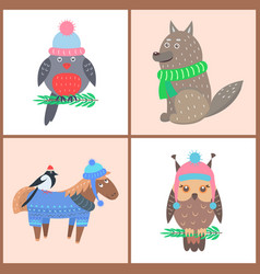 collection of posters animals vector image vector image