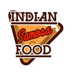 color vintage indian food emblem vector image