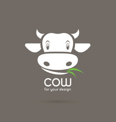 Cow face with grass on brown background farm vector
