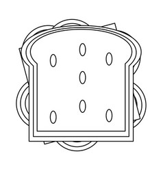 Delicious sandwich food in black and white vector