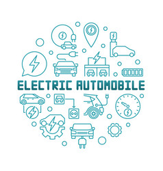 electric automobile round in vector image
