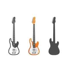 Electric guitars icons set Guitar isolated vector image