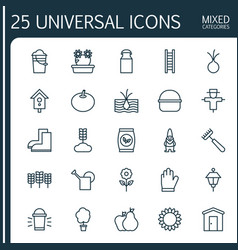 Farm icons set collection of lantern pear with vector