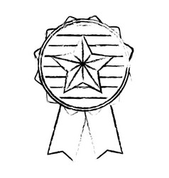 Figure emblem with star inside and ribbon design vector