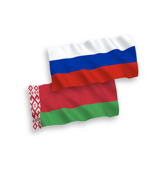 Flags belarus and russia on a white background vector