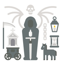 Flat design grim reaper item set vector