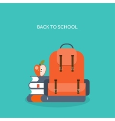 Flat school backpack Study vector image