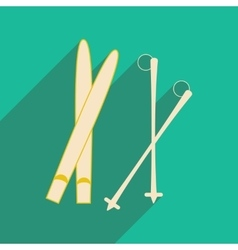 Flat with shadow icon and mobile applacation skis vector image