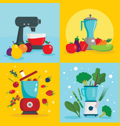 food processor equipment banner set flat style vector image
