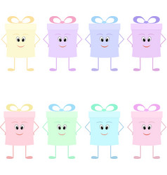funny gift boxes characters with bows vector image