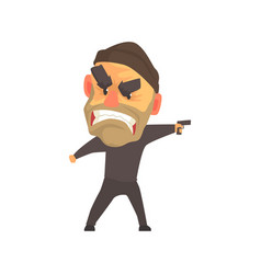 Furious male criminal with gun in his hand cartoon vector