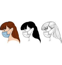 girl in mask vector image