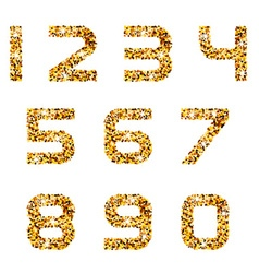 Golden sparkles font numbers vector