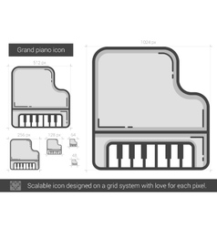 Grand piano line icon vector image