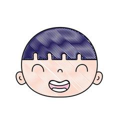Grated smile avatar boy head with hair vector