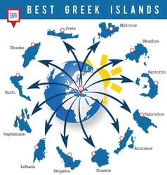 Greek islands map vector