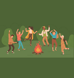 group of happy young men and women dancing around vector image