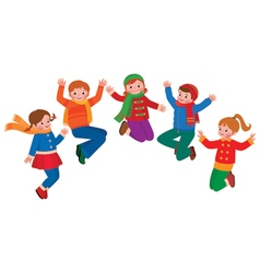 Group of jumping children boys and girls vector