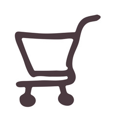 Hand drawing supermarket shopping cart icon vector