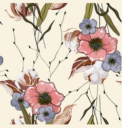 Hand drawn blooming flowers realistic isolated vector