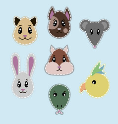 Hand drawn pets heads set vector