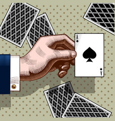 Hand with ace spades playing card vintage vector