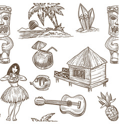 hawaii travel sketch pattern background vector image