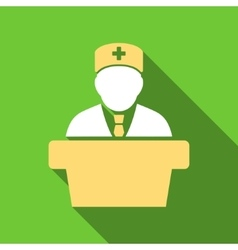 Health Care Official Flat Long Shadow Square Icon vector