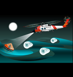 helicopter of rescuers left view rescue raft vector image