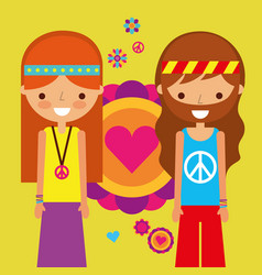 Hippie woman and man peace and love heart love vector