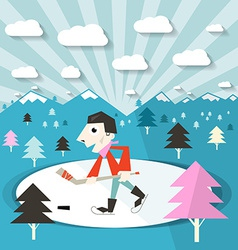 Hockey Player on Ice and Nature with Trees and vector
