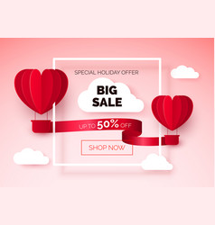 hot air balloons with red ribbon and discount vector image