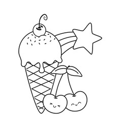 Ice cream and heart sunglasses and cherry black vector