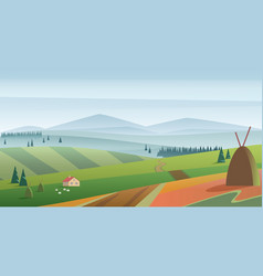 Image green hills and meadow vector