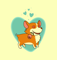 In love dog with a rose in his mouth on a vector