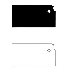 kansas ks state maps with capital city star at vector image