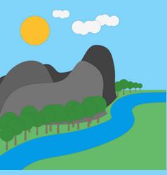 landscape paper art carving style vector image