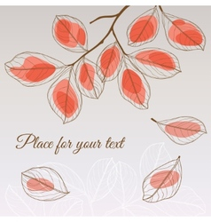 Linden leaf red style with place for your text vector