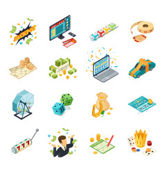 Lottery isometric icons set vector