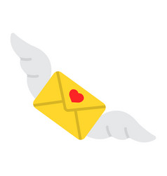 love letter with wings flat icon valentines day vector image