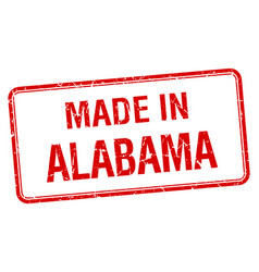 Made in alabama red square isolated stamp vector