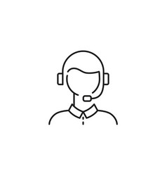 Male customer support line icon on white vector