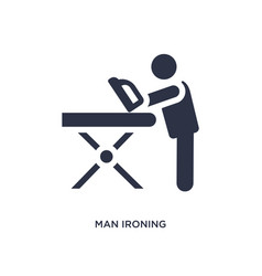 Man ironing icon on white background simple vector