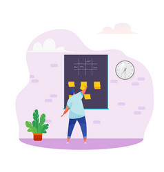 Man manager kanban sticky notes board vector