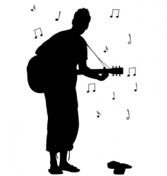 man with guitar silhouette vector image
