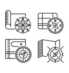 maps with compass and wind rose icons set vector image